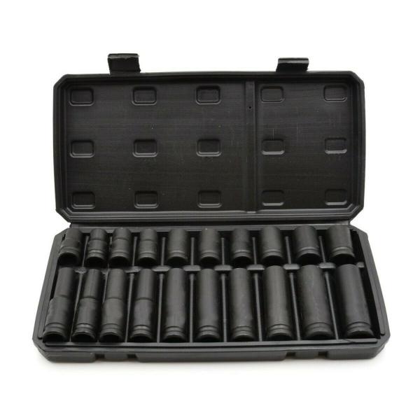juego 20 vasos impacto largos y cortos de 10-19mm 1/2″ para llaves de impacto