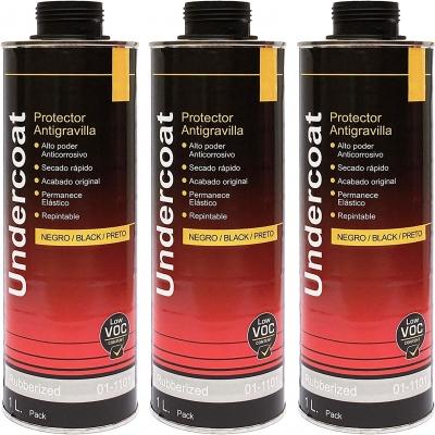 Protector antigravilla color negro 1 litro por unidad. protector bajos de coches pasos de rueda, 3 unidades